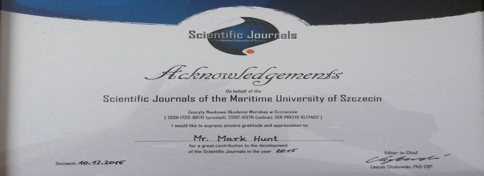 Certificate from Maritime University of Szczecin