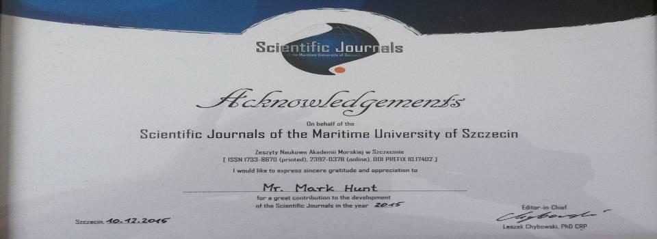 Dyplom uznania od Akademii Morskiej w Szczecinie