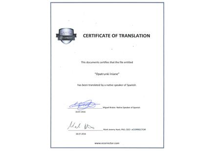 Specjalistyczna korekta native speakera - Proofreading certificate