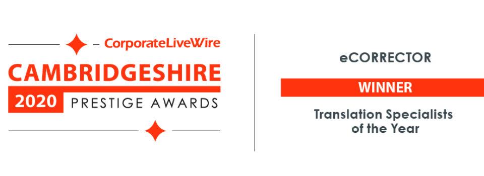 Cambridgeshire Prestige Awards 2020 dla eCORRECTOR